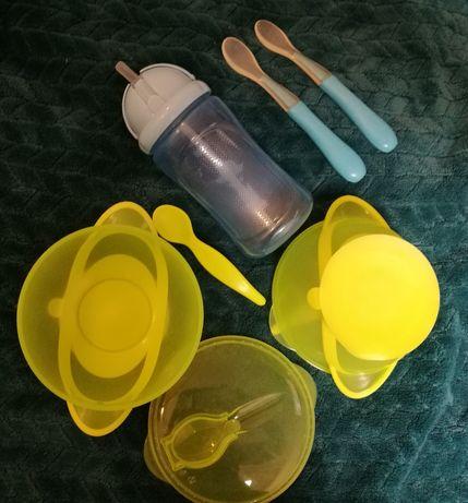 Zestaw miseczka z przyssawką, bidon i 2 łyżeczki BRAK 1 zielonej łyżki