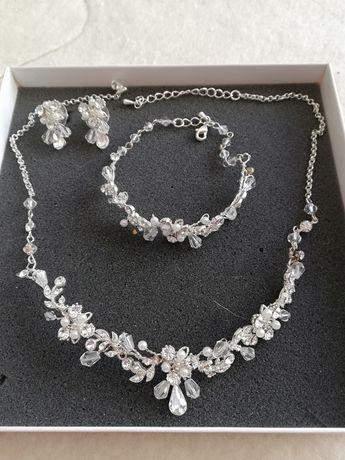 Biżuteria ślubna, zestaw plus diadem
