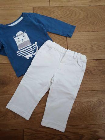 białe eleganckie miękkie spodnie chrzest święta coccodrillo r. 74/80