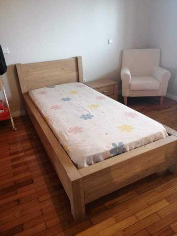 cama, extrado, mesa cabeceira