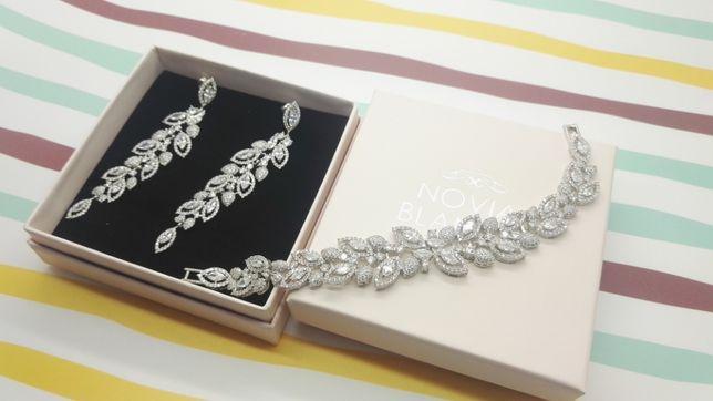 Biżuteria ślubna NOVIA BLANCA kolczyki Lisa bransoletka Elvia
