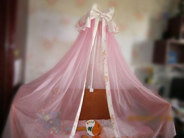 Постельный набор Piccolino. Одеяло подушка балдахин защита постел.бел