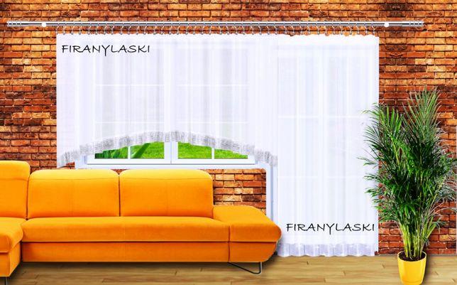 Zestaw Firan Firana balkonowa 400x150 i 145x250 woal cyrkonie łuk