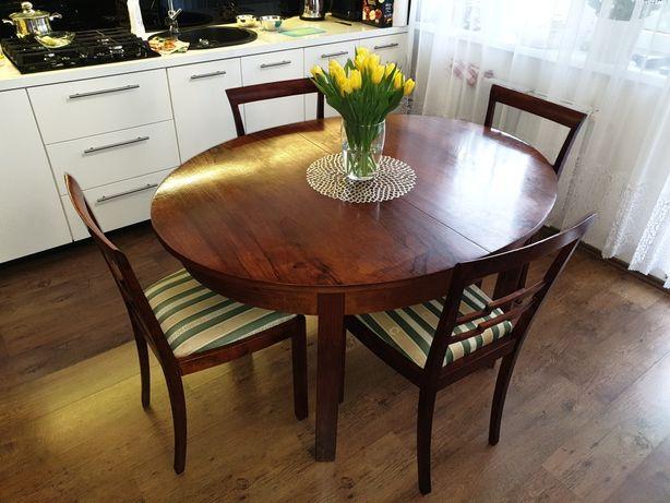 Stylowe drewniane krzesła stołowe retro vintage tapicerowane