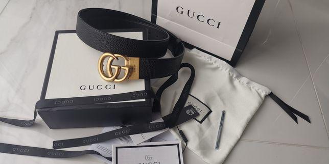 Pasek Gucci ze skóry ze złota klamrą 3,8cm z całym zestawem NOWY
