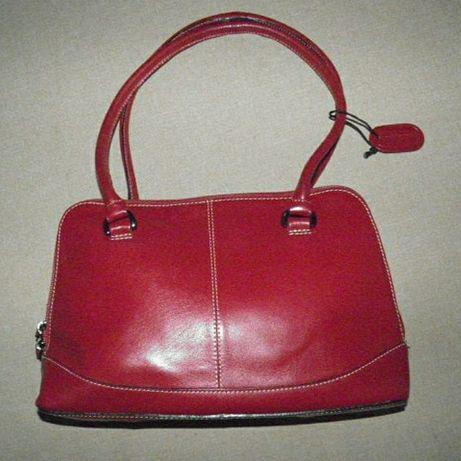 Кожаная красная бордовая сумка женская