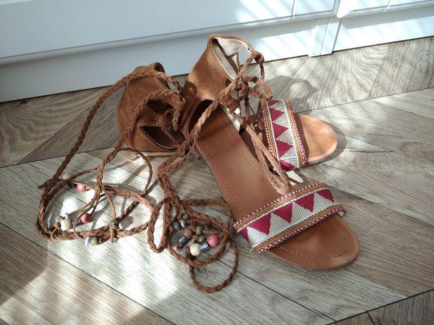 Sandały buty w stylu Boho, rozm. 36, brąz, plecione, płaskie