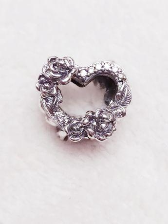 Nowy srebrny charms plecione serce