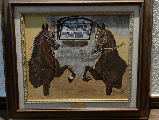 Quadro Pintado à Mão Cavalos 65 cm x 57 cm OTIMO ESTADO