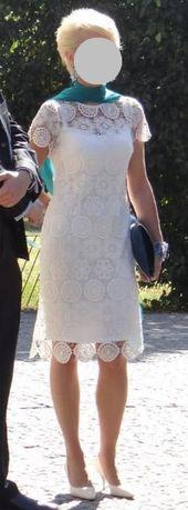 śmietanowa, koronkowa, midi, sukienka r.36