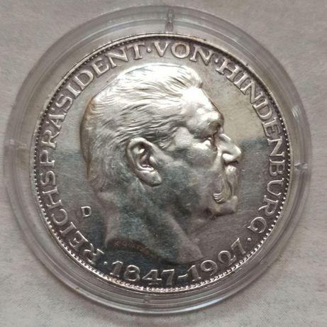"""5 Марок 1927 Года. Медальные. """" 80 лет Гинденбургу """""""