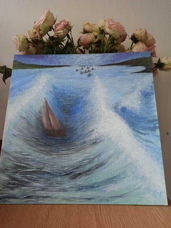 Картина акрилом, море