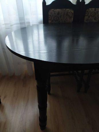 Stół owalny z krzesłami komplet