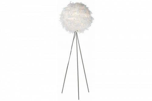 Lampa stojąca z piór biała