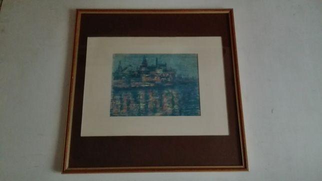 Михаил Тодоров Морской Порт ночью пейзаж, пастель 1980х годов