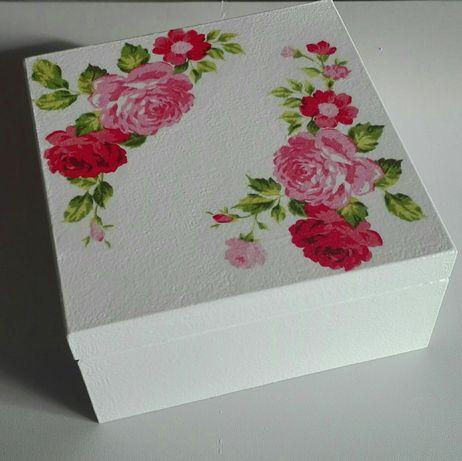 Pudełko drewniane, szkatułka, róże kwiaty,zastrzyk gotówki,rękodzieło