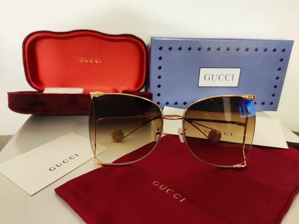 Dostępne! Okulary Gucci złoto- brązowe GG0252- 002S