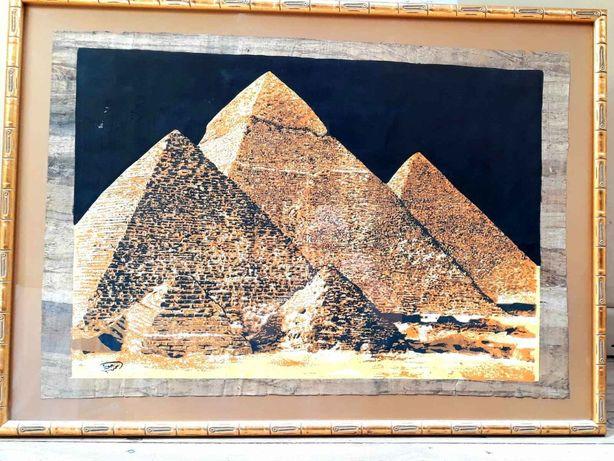 Картина Папирус под стеклом Антибликовое Пирамиды Египет Подарок