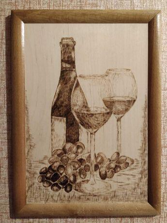 """Картина из дерева ручной работы """"Вино, бокалы"""" натюрморт"""