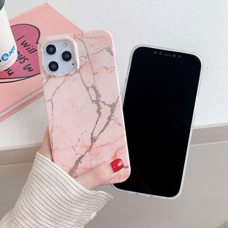 Capa protetora em TPU macio com padrão de mármore iPhone 11 - Rosa