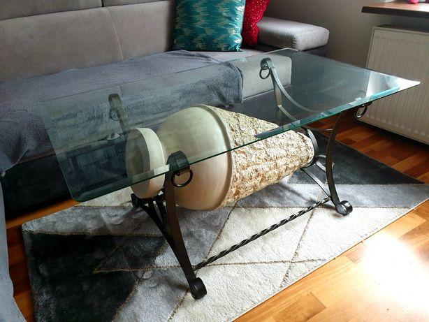 Ława/ stolik do salonu Agata retro kuty szkło stan bdb