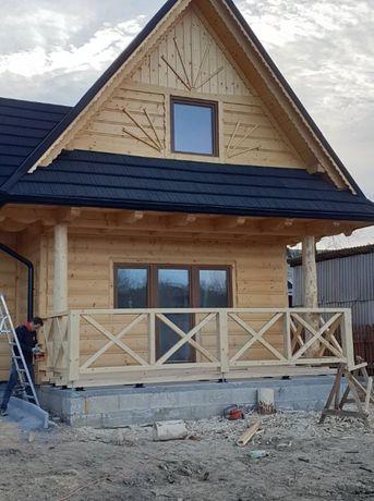 Domek w stylu góralskim Dom do 35 , Budowa z bali z drewna szkieletowy