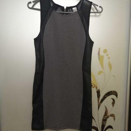 Платье с кож. вставками