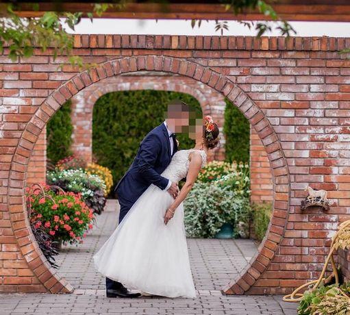 suknia ślubna rozkloszowana tiul koronka rozmiar S 36