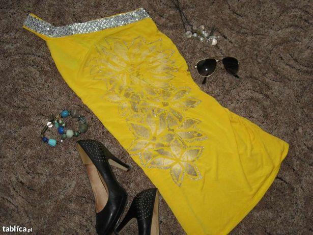 Cudna żółta sukienka tunika floral