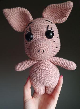 Różowa świnka maskotka na szydełku, handmade