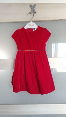 Śliczna świąteczna czerwona sukienka r.86