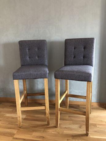 Hoker, krzesło barowe tapicerowane, na drewnianych nogach