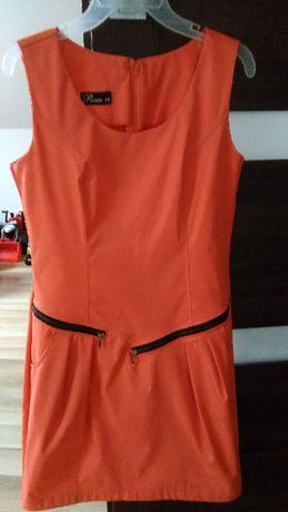 Sukienka damska, pomarańczowa, prosta, ROCO, r. 38