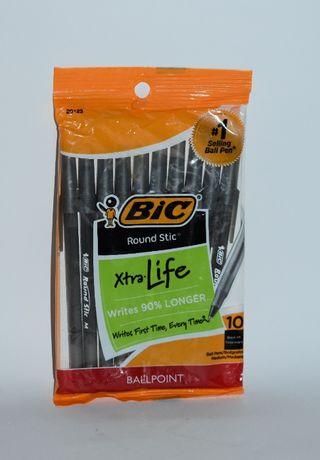 новый набор черных ручек bic xtralife 10 black ink ball point medium о
