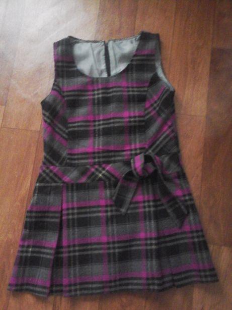 Sukienka w kratę dla dziewczynki na lato 128