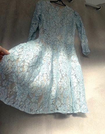 Sukienka koronka niebieska/błękitna 36 stan idealny!