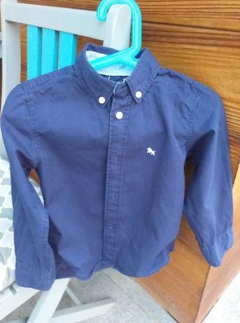 Koszula chłopięca granatowa z długimi rękawami rozmiar 98 H&M