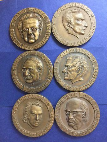 Lote 6 medalhas bronze-Movimento Forças Armadas-25 Abril 1974-80mm
