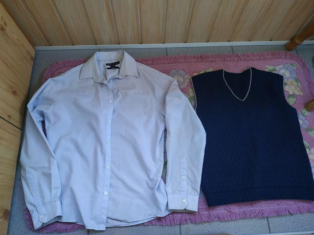 Безрукавка в'язана для хл.9-13років + сорочка у подарунок