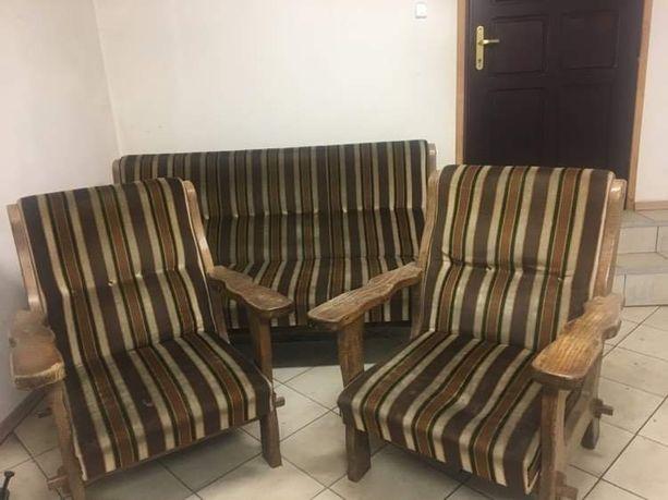 Komplet wypoczynkowy 2 fotele i kanapa drewno i welur vintage