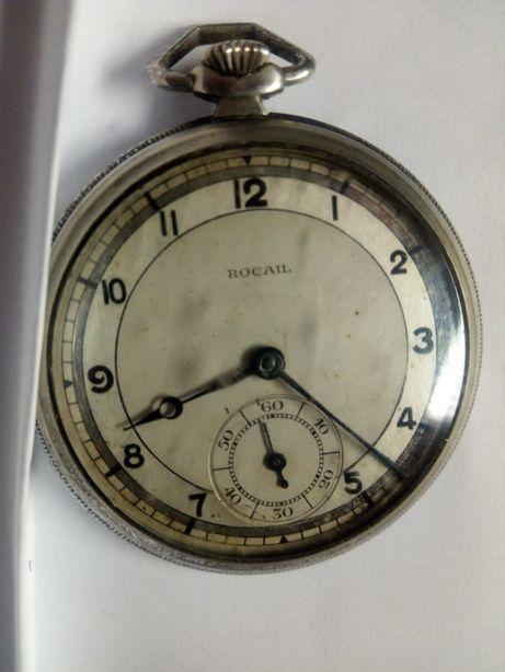Antigo relógio de bolso suíço Rocail - á trabalhar