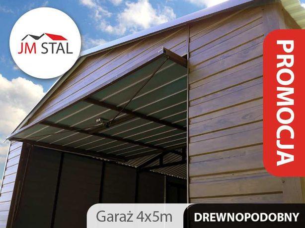 Garaż blaszany dwuspadowy 4x5 blacha orzech panel drewnopodobny