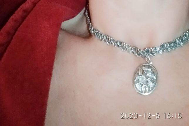 Подарок колье серебряное с чернением, кулон, кольцо советское качество