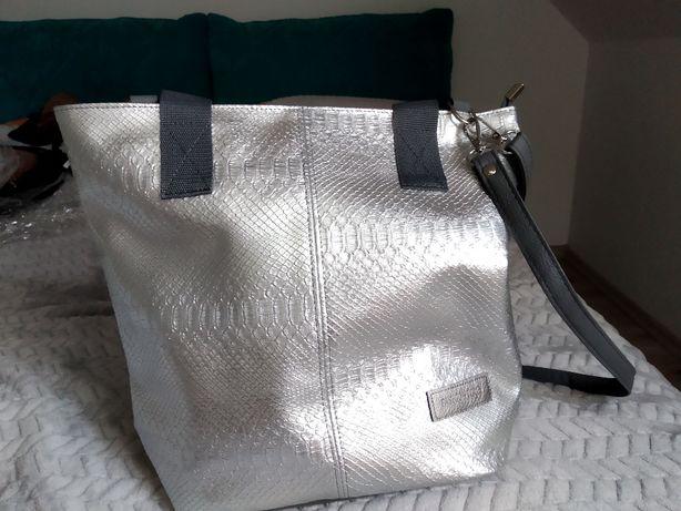 Torebka Shopperka Moana kolor Grafitowo-srebrny