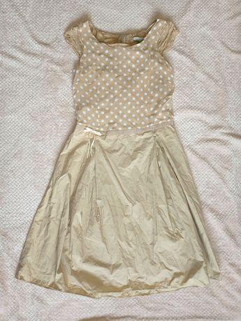 Beżowa sukienka w kropki