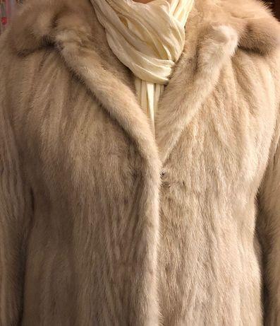 Piękne futro z norek jasny beż jak nowe 38 długie