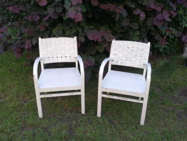 Krzesła Ogrodowe Masywne Ratan Dąb Retro Vintage