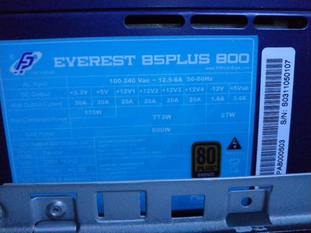 блок питания FSP everest 85plus bronze 800w