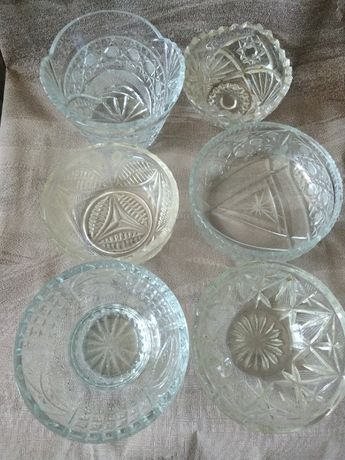 Стеклянная хрустальная посуда салатницы блюдца ваза