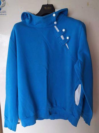 Bluza męska z kapturem niebieska z zamkiem XXL ombre